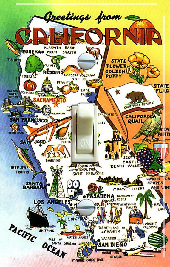 California Map Cartoon.California Map Vintage Travel Poster Switch Plate Single Etsy