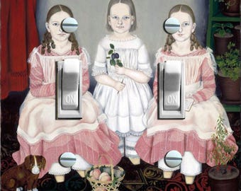 Three Colonial Sisters in Pink Decorative Double Switch Plate  ***FREE SHIPPING***