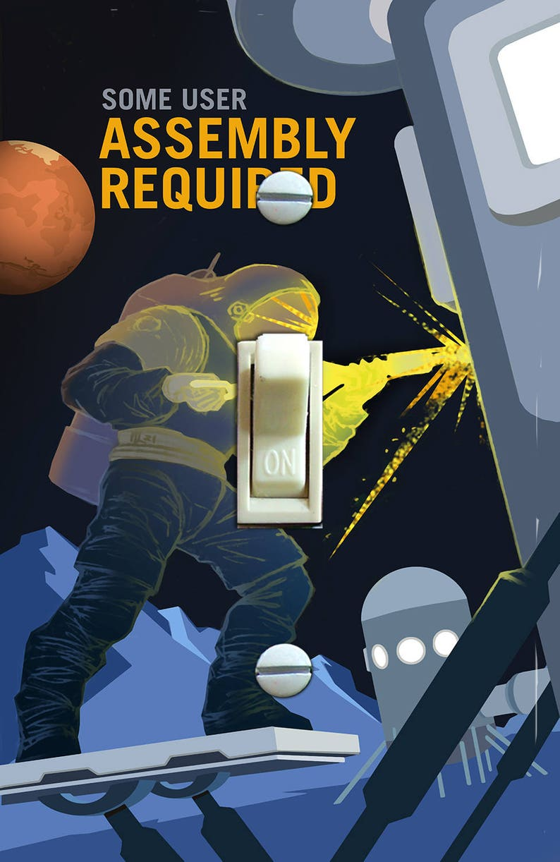 Switch Plate Cover Single Wall Plate MARS Some User Assembly Required NASA Recruitment Retro Poster Home Decor