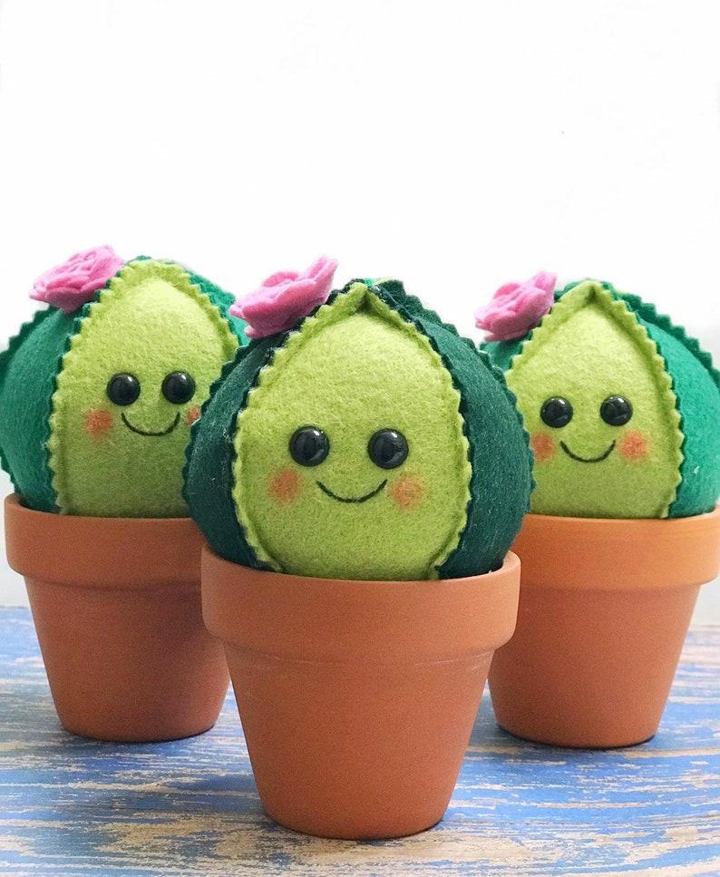 Cactus de fieltro a mano