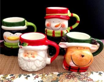 Christmas Funny Ceramic Mug, Pinguin, Deer, Snowman, Santa Claus 3d Coffee Cup, Pottery Handmade Mug