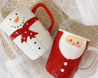 Cute Santa Claus Ceramic Christmas Mug, Handmade Figural 3D Snowman Funny Coffee, Large Capacity Christmas Tree Tea Cup Gift, 500 Ml
