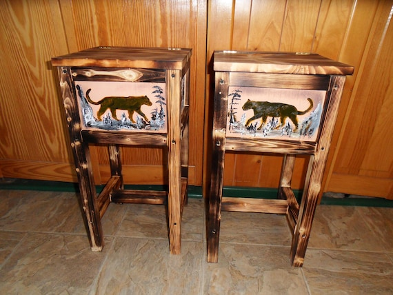 ccdae2fd121fb Set of 2 puma mountain lion panther tables nightstand end table made in  Maine solid wood