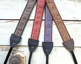 Handmade Camera Straps Damask - 4 Colors to Choose From Blue Red GrayLeather and Suede Camera Strap