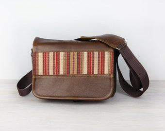 Handmade Leather Camera Bag Compact- Brown Leather Red Stripes Tapestry DSLR - IN STOCK
