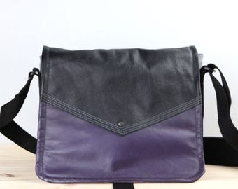 Handmade Leather Commuter Bag Satchel – Plum and Black Book Bag