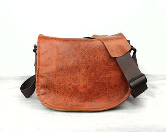 Handmade Medium Leather Camera Satchel Bag Rust Paisley Leather with Red Linen DSLR- PRE- ORDER