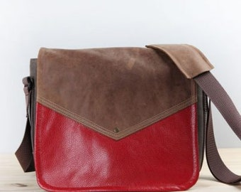 Handmade Leather Commuter Bag New Satchel – Medium Distressed Brown and Red Book Bag
