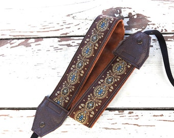Handmade Leather and Suede Camera Strap Brown and Beige Fleurish DSLR