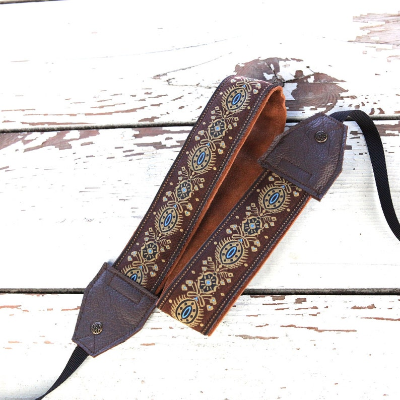 Handmade Leather and Suede Camera Strap Brown and Beige image 0