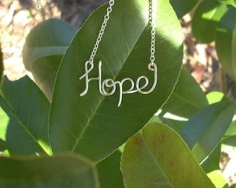 HOPE Silver Necklace. Hopeful Necklace. Hope Jewelry. Hope.