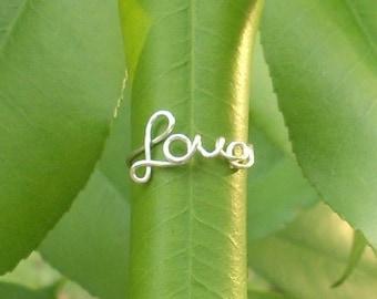 SALE! Silver wire LOVE ring