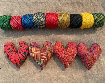 Embroidered Heart Ornament Sampler