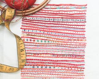 Red Stripe Embroidery Sampler