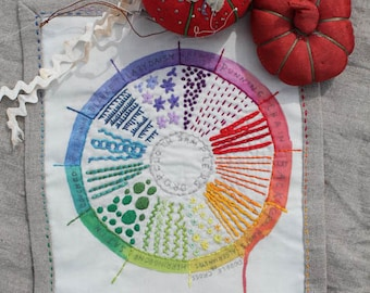 Color Wheel Embroidery Sampler by Dropcloth
