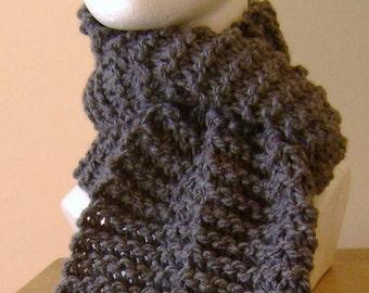 scarf - knit scarf - hand knit scarf - gray knit scarf - gray scarf - dark gray knit scarf - acrylic knit scarf - grey hand knit scarf