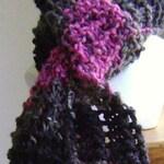 Knit scarf - hand knit scarf - fancy knit scarf - black knit scarf - magenta knit scarf - scarf - fashion scarf - gray knit scarf - acrylic