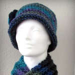 colorful hat - knit hat - hand knit hat - Turquoise knit hat - knit flower - turquoise hand knit hat - funky hat - fashion hat - fun hat