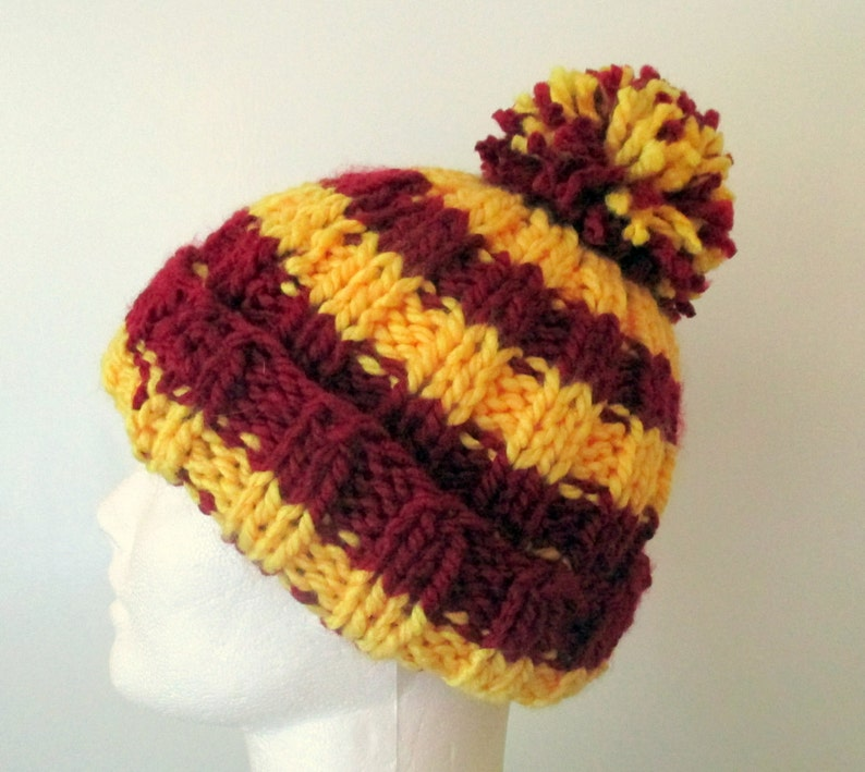 73774881a59 Red   yellow striped hat hand knit hat pom pom hat knit
