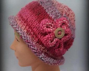 hat - knit hat - hand knit hat - funky knit hat - acrylic knit hat - pink funky hat - pink knit hat -hand knit pink hat -pink blend knit hat