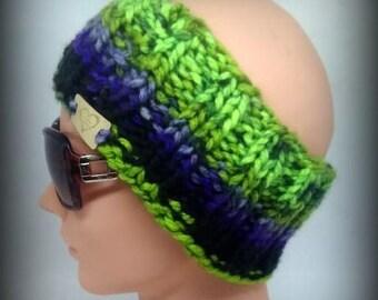 headband - green headband - hand knit headband - blue knit headband - ear warmer - knit ear warmer - Lime green knit headband - black