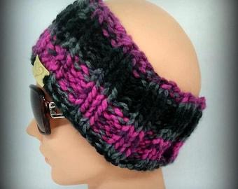 headband - green headband - hand knit headband - black knit headband - ear warmer - knit ear warmer - gray knit headband -  pink headband