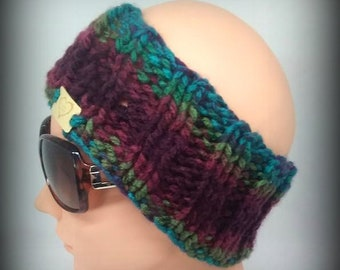 headband - hand knit headband - burgundy knit headband - ear warmer - hand knit ear warmer - turquoise knit headband -  green knit headband