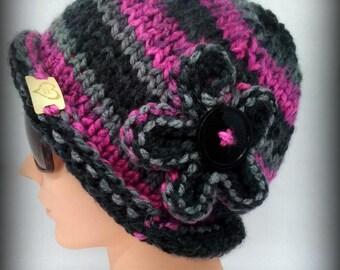 knit hat - hand knit hat - hat - gray knit hat - black knit hat - knit flower - raspberry knit hat - funky knit hat - funky hat - warm hat