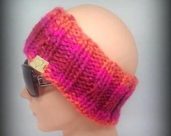 headband - knit headband - hand knit headband - pink knit headband - ear warmer - knit ear warmer - orange knit headband - pink headband