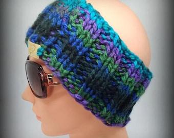 headband - green headband - hand knit headband - blue knit headband - ear warmer - knit ear warmer - black knit headband -  purple headband