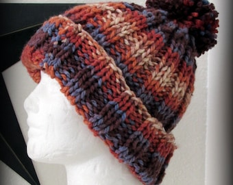 hat - knit hat - hand knit hat - hand made hat - beanie - pom pom hat - knit pom pom hat - orange knit hat - blue knit hat - striped hat