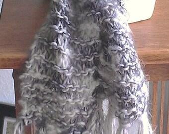 gray knit scarf - hand knit scarf - knit scarf - scarf - gray scarf - white scarf - white knit scarf - soft knit scarf - wool knit scarf