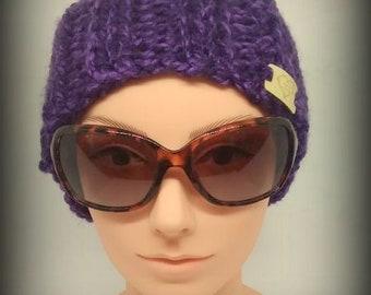 headband - knit headband - hand knit headband - purple knit headband - ear warmer - knit ear warmer - Acrylic knit headband -  Purple