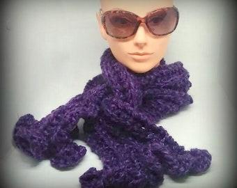 scarf - knit scarf - hand knit scarf - acrylic knit scarf - warm knit scarf - warm scarf - purple scarf - red/purple knit scarf - fancy knit