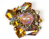 Gorgeous Multi-Colored Faux Opal Pear-Shaped Cabochon and Topaz Aurora Borealis Gammatic Rhinestone Vintage Brooch