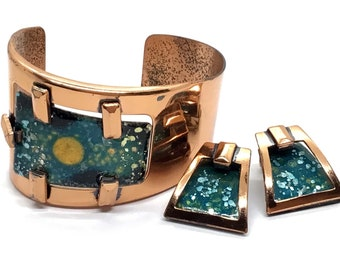 Vintage MATISSE Mid Century Modern Green, Gold,  and Black Enamel Copper Cuff Bracelet and Earrings