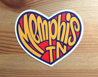 """Memphis Heart Sticker - 4"""" Tennessee"""
