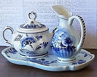 Vintage Delft Cream and Sugar Set with Tray -Blue and White Handpainted