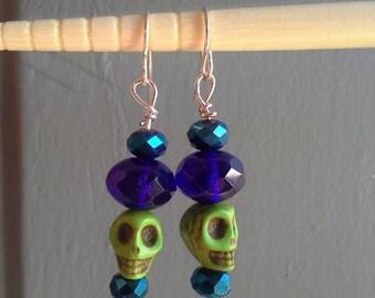 Blue & Green Skull Bead Earrings: Set 2