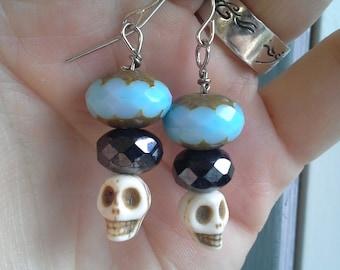 Blue & Black Skull Bead Earrings
