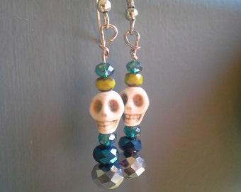 Blue & Green Skull Bead Earrings: Set 4