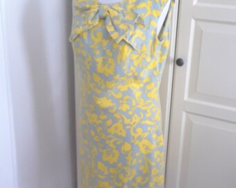 1573693f1b 1960s Gray Yellow Linen Shift Dress