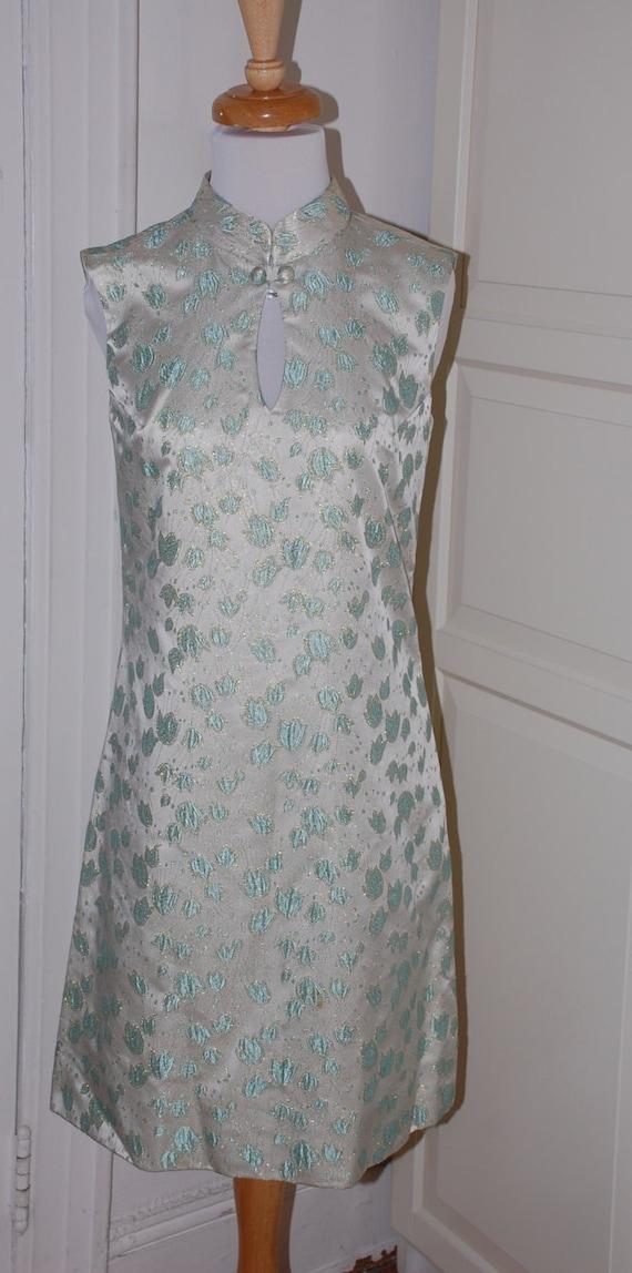 60s Dress, Suzy Perette, 1960s, Brocade, Silver B… - image 1