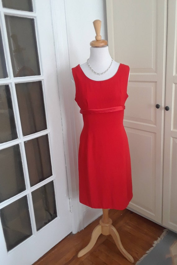 60s Dress, Red, 1960s, Cocktail, Low Back, Bows, S