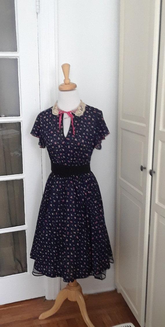 40s Style 70sDress,  Full Skirt, Swing, Navy Flora