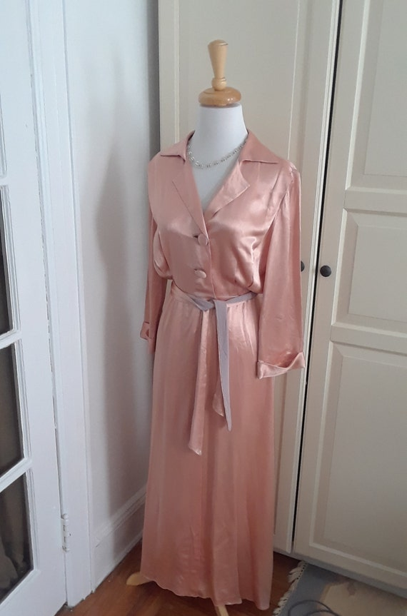 30s Robe,1930s, Pink, Dressing Gown, Satin, Peach,
