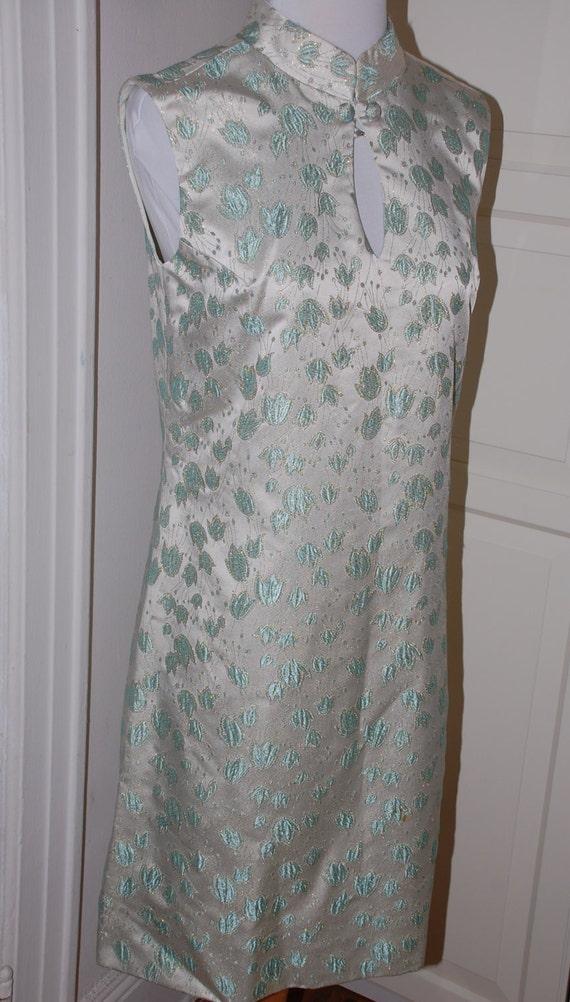 60s Dress, Suzy Perette, 1960s, Brocade, Silver B… - image 2