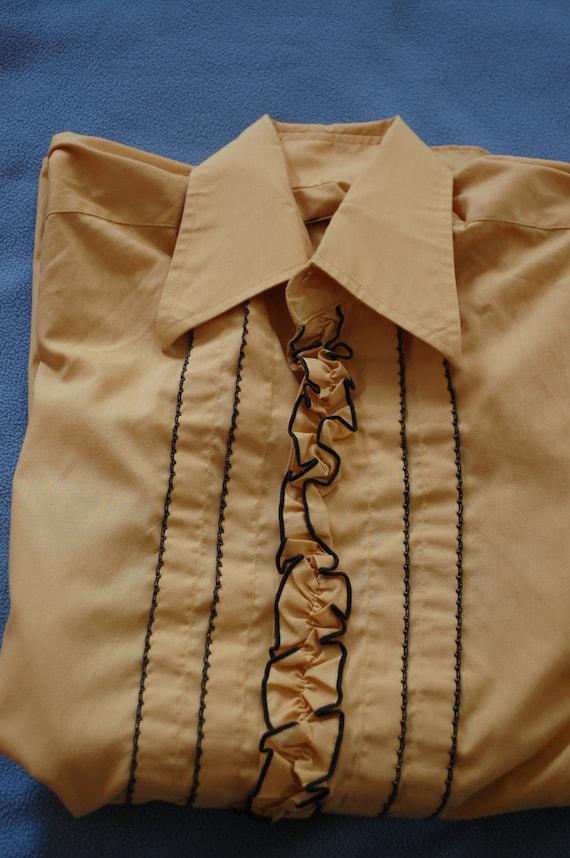 60s Men's Shirt, Tuxedo, Ruffled, Gold, Long Sleev