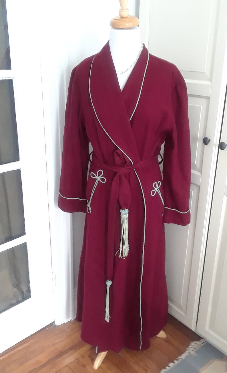 2ae1e831c0 1940s Burgundy Robe Dressing Gown with Baby Blue Trim Wool