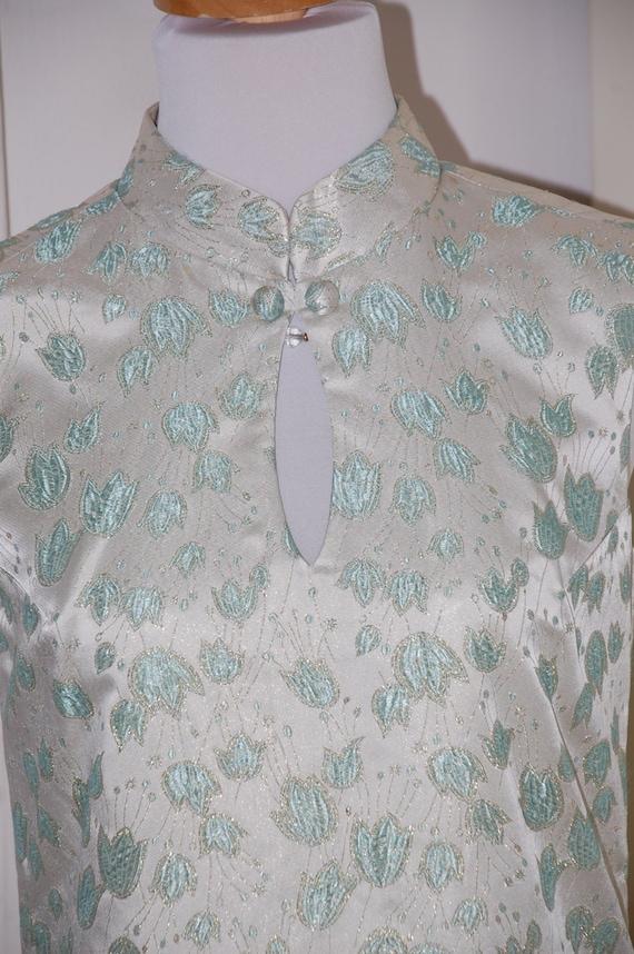 60s Dress, Suzy Perette, 1960s, Brocade, Silver B… - image 3